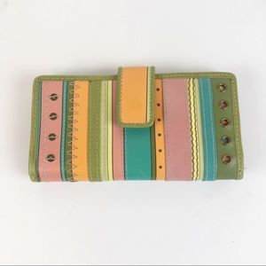 Fossil Striped Embellished Leather Wallet